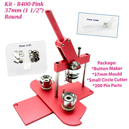 ChiButtons (KIT) 37MM(1.5'') PRO BADGE MACHINE BUTTON MAKER B400 + MOULD + 200 PARTS + CIRCLE CUTTER (Pink) by Chi Buttons