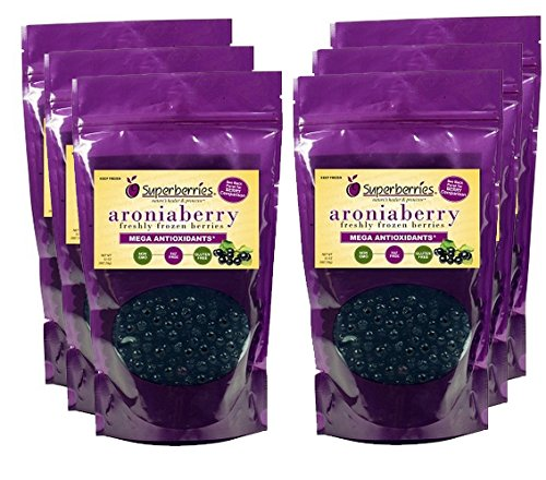 6 Pk Organic Fresh-frozen Aroniaberries (Chokeberry), 32 Oz. Package by Superberries