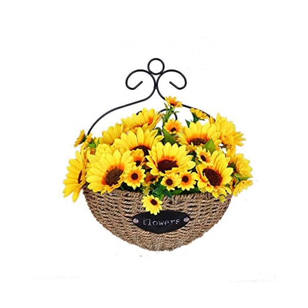 Mynse Handmade Metal Wall Hanging Plant Basket Demilune Shape for Home Indoor Outdoor Decoration Artificial Silk Sunflower Wall Hanging Basket