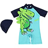 Gogokids Baby Boys One Piece Swimsuit - Kids Short Sleeves Swimwear Cartoon Dinosaur
