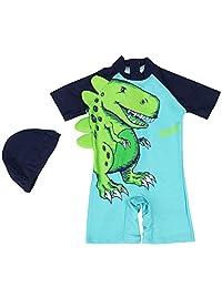 Gogokids Baby Boys One Piece Swimsuit - Kids Short Sleeves Swimwear Cartoon Dinosaur