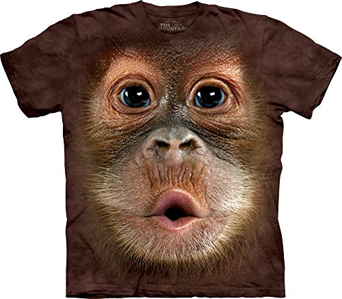 The Mountain Men's Big Face Baby Orangutan T-Shirt, - Animal Print Mens Shirts