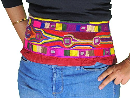 NovaHaat Kuchi Banjara Ladies Belt Trim Fusion Style Mirror Embroidered Textile -