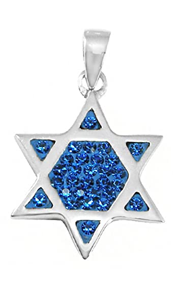 Sterling Silver /& Synthetic Crystal Magen David Pendant Jewish Star