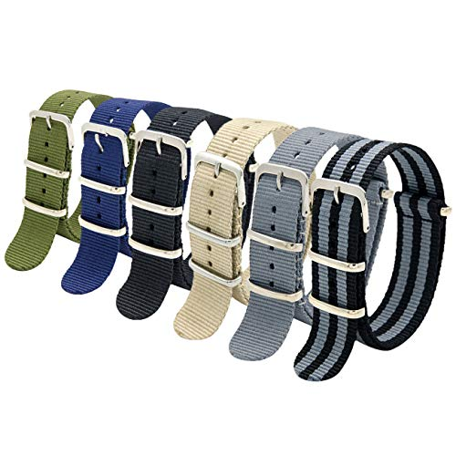 MEGALITH NATO Strap 6 Packs 16mm 18mm 20mm 22mm 24mm Nylon Watch Band Premium Ballistic Zulu Watch Straps for Men Women with Stainless Steel Buckle
