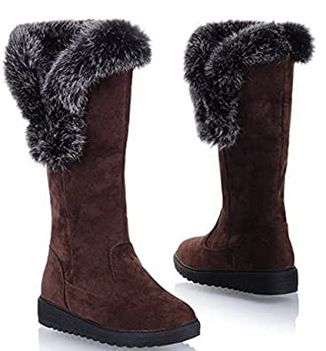 Amazon.com | XCC women snow flat ankle boots woman cotton