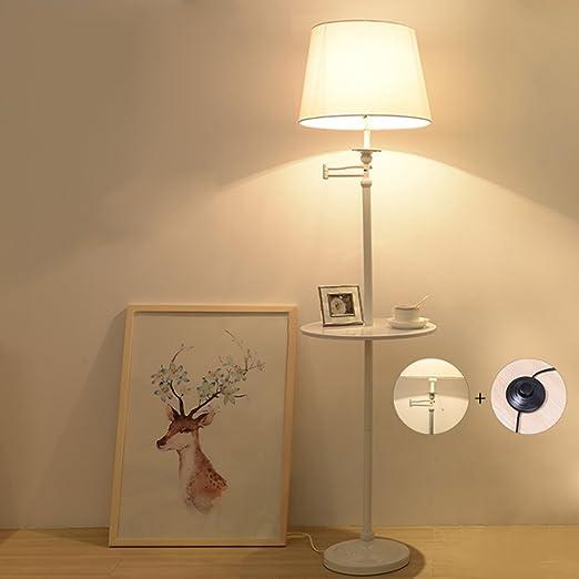 Lámpara de pie creativa de la mesa de centro, interruptor de control dual del tirón del pedal / de la mano, luces de lectura de la moda LED (Color : Blanco) :