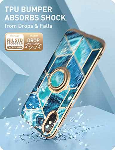 i-Blason Cosmo Snap Case Designed for iPhone Xs (2018) / iPhone X (2017), Slim with Built-in 360° Rotatable Ring Holder Kickstand Supports Car Mount (Ocean)