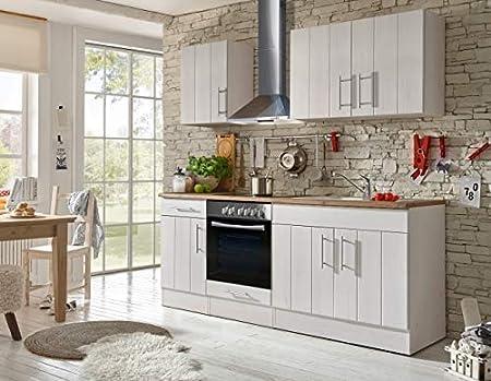 respekta Cocina Cocina Pequeña Bloque de Cocina Cocina Cocina Amueblada y Equipada Cocina Totalmente Equipada 210 cm en Blanco: Amazon.es: Hogar