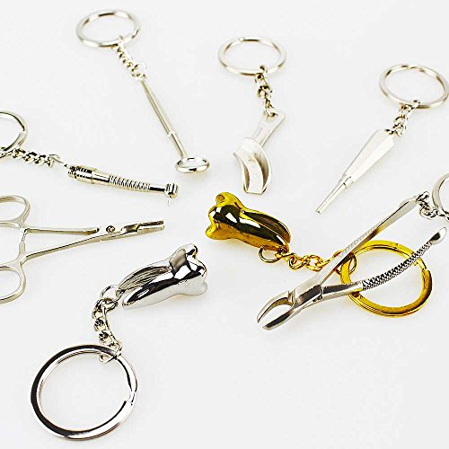 Airgoesin Keychains Dental Clinic Forcep Mirror Handpiece Tooth Impression Tray 8pcs -