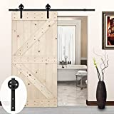 LUBANN 42in.x 84in. Unfinished British Brace Knotty Pine Barn Door with Sliding Door Hardware Kit (Big Wheel)