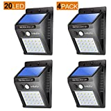 LivEditor Outdoor Solar Lights,Super Bright LED Motion Sensor Lights with Wide Angle Illumination, Wireless Waterproof Security Lights for Wall, Driveway, Patio, Yard, Garden - 4 Pack