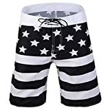 Ussuperstar Men's American Flag Surfing Running Swim Trunk Beachwear