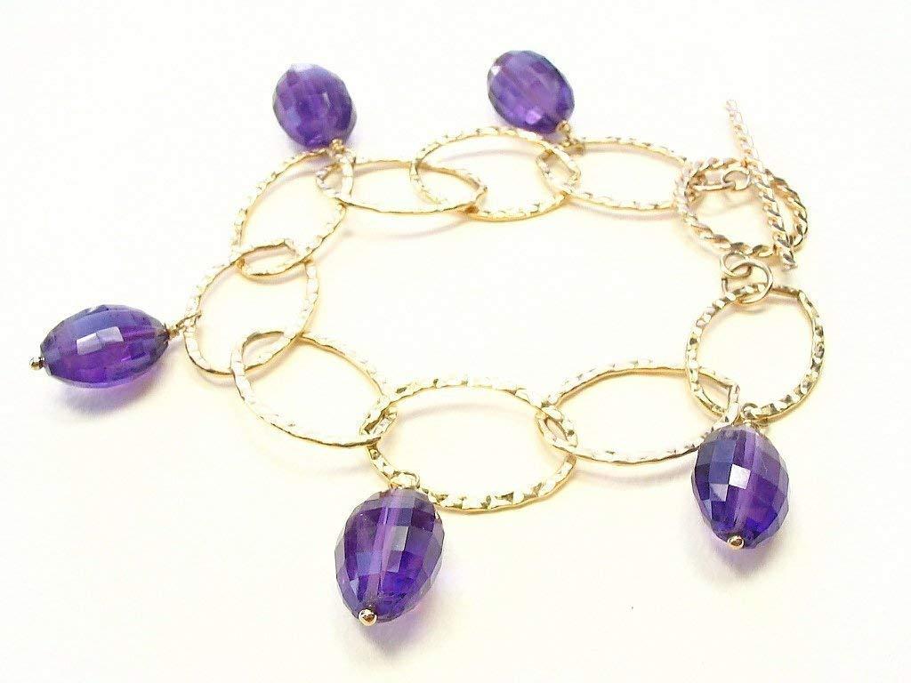 "Bracelet 7.5/"" Real Facetted GARNET Gemstones Silver Plated Jewelry MODERN"