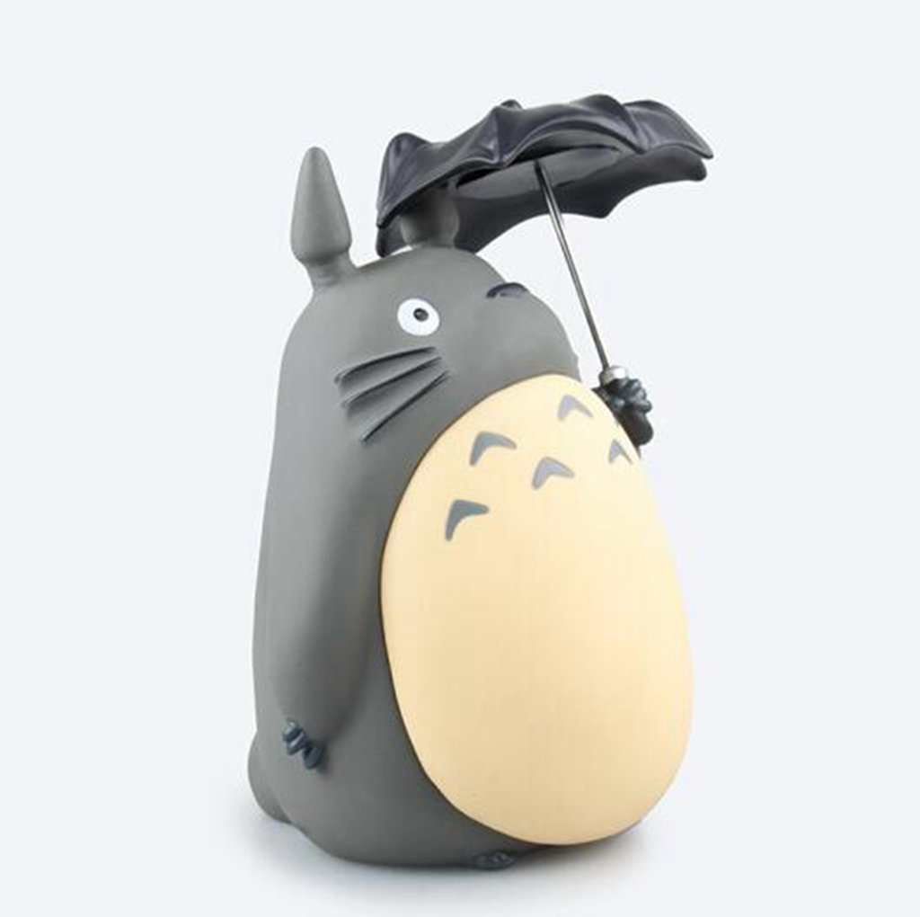 Good Value Piggy Bank Japanese Anime Miyazaki Hayao Totoro with Umbrella Dragon Cat Hold Umbrella Money Cans Cartoon Interesting Doll Landscape ABS Resin Ornaments Large Size 20 CM