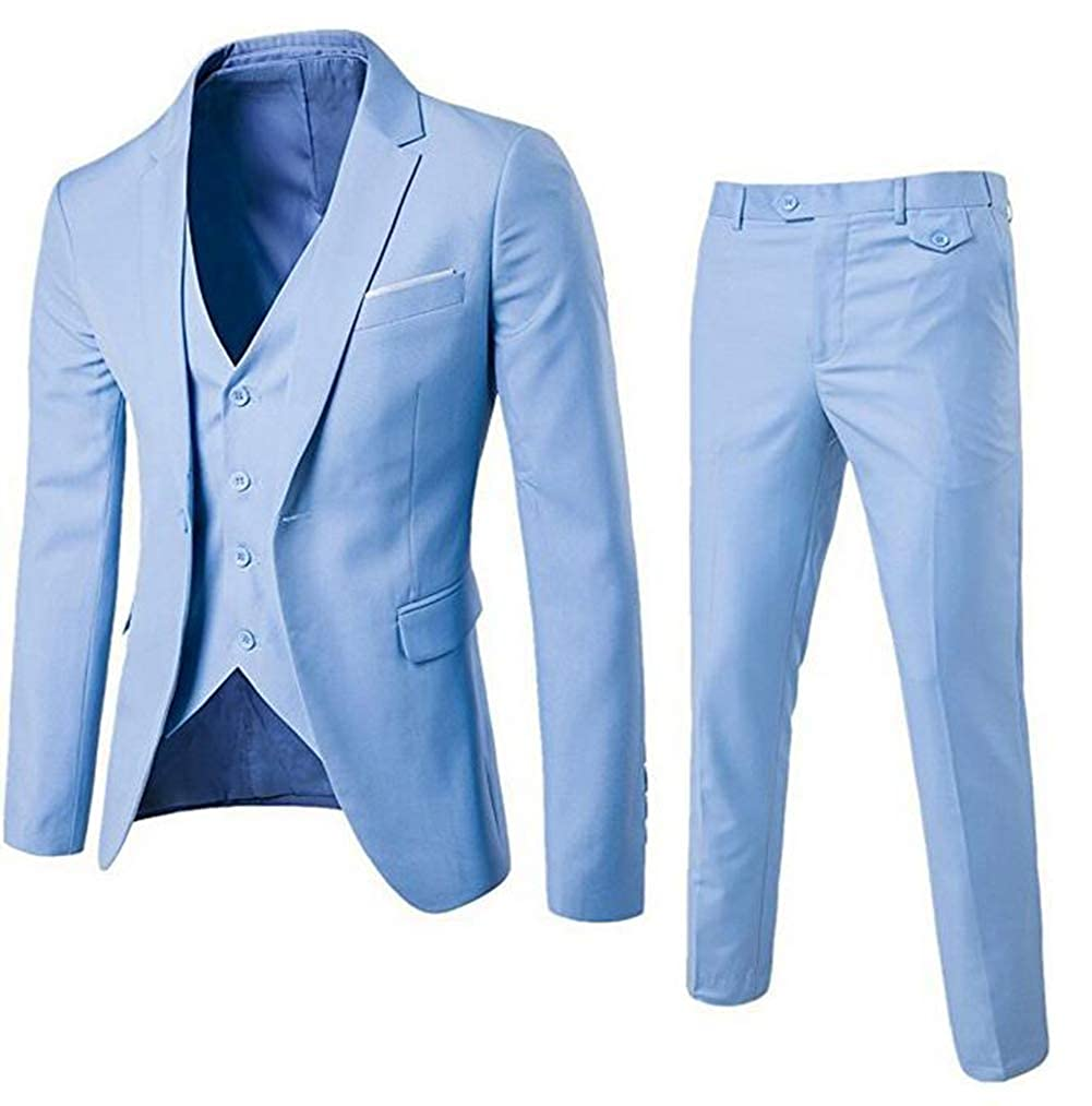 Tsbridal Mens 3 Pieces Suit Slim Fit Solid One Button Wedding Dresses Single Breasted Party Blazer Vest Pants Set