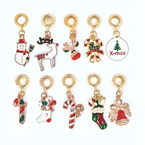 Christmas Collection Dangle Charms Pendants Gold Spacer Bead for DIY Jewelry Findings Craft Supplies Bulk Lots 10pcs