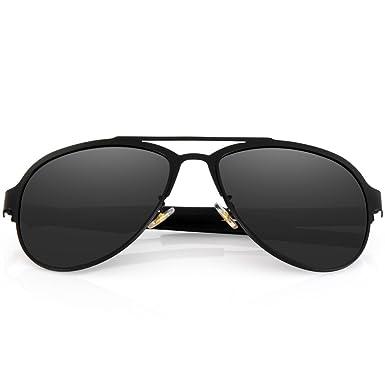 f908432114d Menton Ezil Classic Full Mirror Lens Metal Frame Aviator Polarized  Sunglasses Black