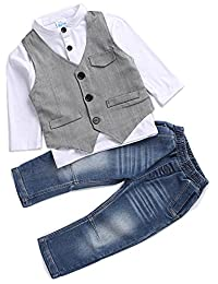 Kids Boys Clothing Sets Shirt and Vest Jeans Clothes Suit for 2 to 5 Age Little Boy
