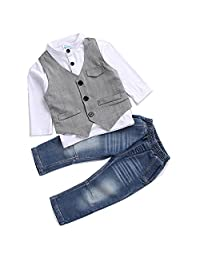 AJia® Kids Boys Clothing Shirt and Vest Jeans Sets For 2 to 5 Years Toddler Boy (3T)