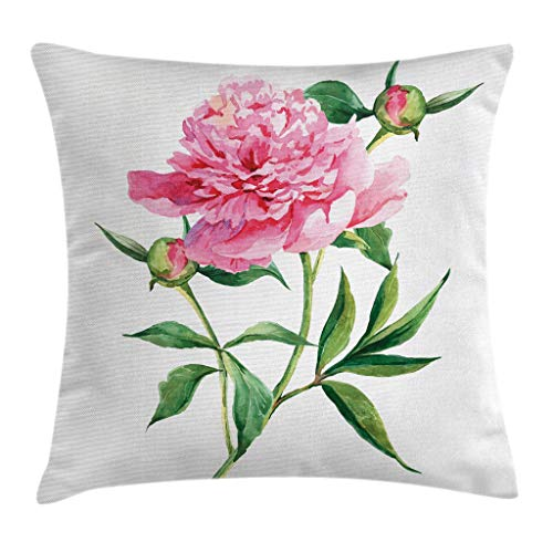 (Ambesonne Watercolor Flower Throw Pillow Cushion Cover, Vintage Peony Painting Botanical Spring Garden Flower Nature Theme, Decorative Square Accent Pillow Case, 20 X 20 Inches, Pink White Green)