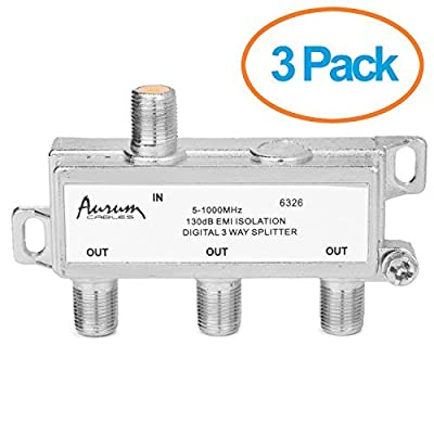 Aurum Cables 3-way 1ghz High Performance Digital Coax Cable Splitter - Frequency Range 5-1000 Mhz 3-pack