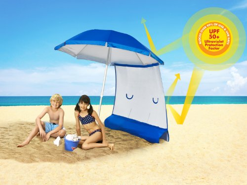 NEW ezShade 6′ Beach Umbrella and Sun Shield Combo Pack (Award Winning) UPF 50+ Blocks 99% UVA/UVB, DOUBLES Your Shade and Keeps You COOLER!, Outdoor Stuffs