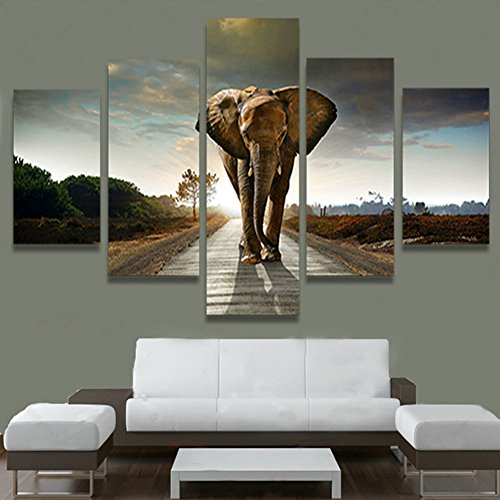 AtfArt 5 Piece Elephant Painting Wall Art Picture Home Decoration Living Room Print Painting Modern Canvas Prints Art, No Frame FCR06 Unframed 50 inch x30 inch