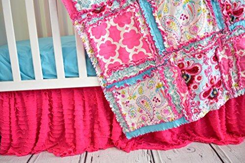 (Hot Pink Crib Skirt for Baby Girl Nursery Bedding Dust)