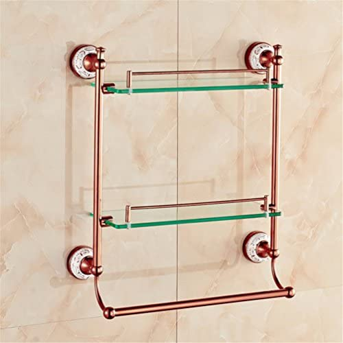AiRobin-Continental Rose Gold Brass Ceramic Wall Mounted Bathroom Glass Shelves Bathroom Accessory