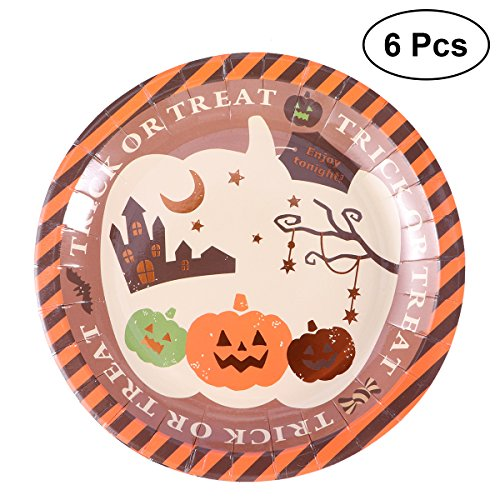 AMOSFUN 6PCS Halloween Paper Plates Disposable Cake Dessert Dishes Party Supplies for Party Weddings Picnic (Brown) ()