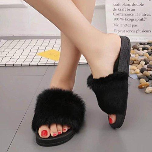 WINWINTOM Nuevo Mujer Casual Primavera/Otoño Pantuflas Suaves Antideslizantes Zapatilla de Piel de Piel Sintética Mullida Flip Flop Sandal (EU 35, Negro)