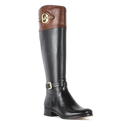5e80b0837af1f MICHAEL Michael Kors Stockard Black Leather Riding Boots Black Brown ...