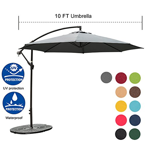 Sundale Outdoor 10FT Offset Umbrella Cantilever Umbrella Hanging Patio Umbrella with Crank and Cross Bar Set, Steel Ribs, Polyester Canopy Shade for Deck, Garden, Backyard, Grey by Sundale Outdoor