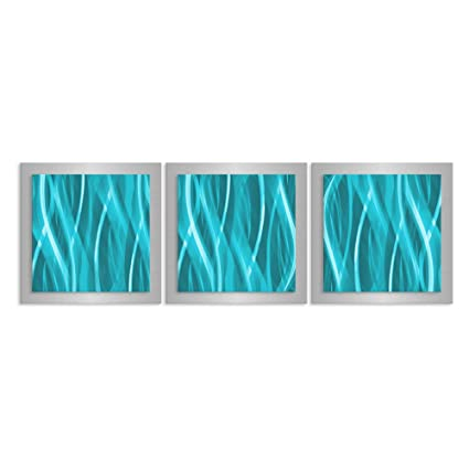 Turquoise teal blue wall art turquoise essence 38x12 in