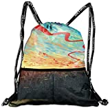 Very Strong Premium Quality Drawstring Backpack Gym Bag for Adults & Teens Artwork