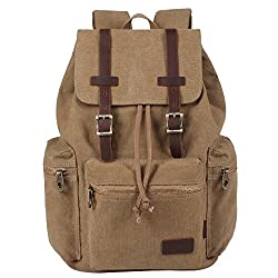 Kaxidy Multi-function Vintage Canvas Leather Hiking Travel Military Backpack Messenger Tote Bag (Khaki)