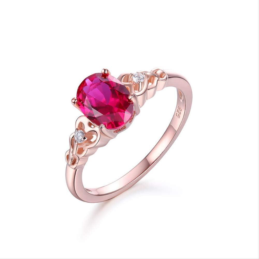 yunkuo S925 Plata De Ley Rojo Copa De Jade Anillo De Piedra Preciosa Oro Rosa Oro Coreano Moda Mujeres Joyería
