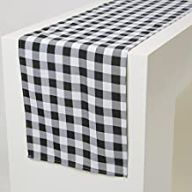 GFCC 13 x 84-Inch Checkered Table Runner, Thanksgiving Christmas Party Picnic Use, 100% Polyester Check, Black & White