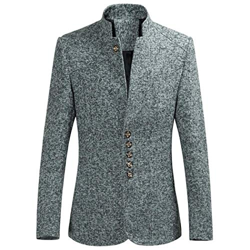 Seniu66 Boutonnage Casual Simple Solide Gray Homme Mode Trench Blazer Blazers grOgFw