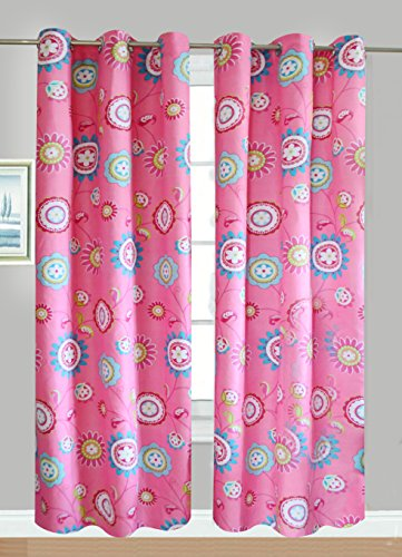 Fancy Linen Collection 2 Panel Flower Pink Curtain Set With grommet measures 80