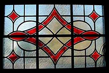Faux Stained Glass Window Film.Large Diamond Faux Stained Glass Window Amazon Co Uk