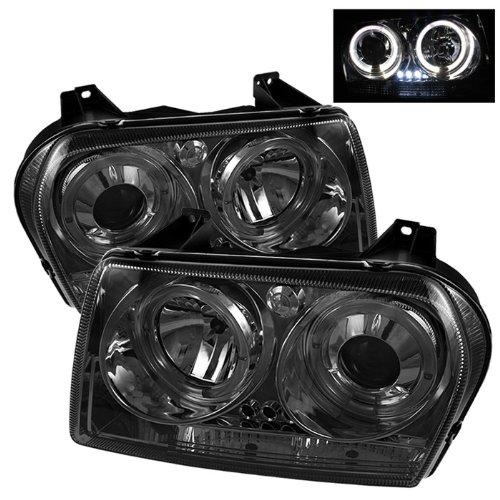 Chrysler 300 Projector Headlights LED Halo LED Chrome Housing With Smoke Lens + Free Gift Universal DRL 6 White LED Lights