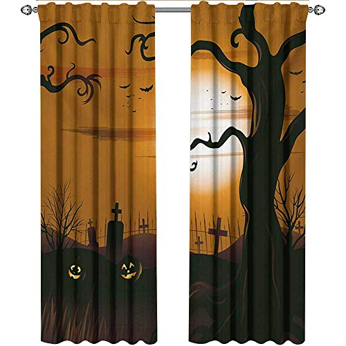 Returiy Halloween, Curtains Blackout, Leafless Creepy Tree with Twiggy Branches at Night in Cemetery Graphic Drawing, Curtains for Bedroom, W72 x L96 Inch, Brown Tan ()