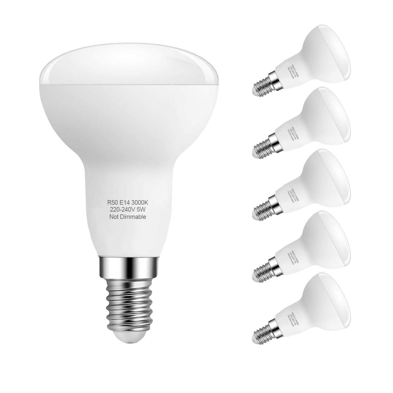 E14 Bombillas LED, 5W R50 Reflector Bombillas LED, 40W Bombillas incandescentes equivalentes, Blanco Cálido 3000K, Ángulo de haz de 180 °, Paquete de ...