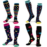 Compression Socks for Men & Women,15-25 mmHg 4 Pairs Colorful Compression Stockings for Runners,Nurses,Pregnancy and Edema, Fashion a - 4 Pairs, L/XL