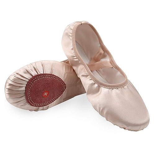 24d5bae2f52e Wendy Wu Girls Ballet Dance Shoes Split Sole Satin Ballet Slippers Flat (EU  32
