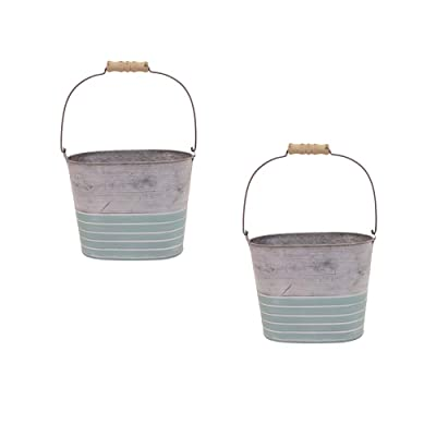 Galvanized Pail, Spring Blue Planter with Wooden Handle, Set of 2 : Garden & Outdoor