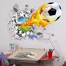 "U-Shark 3D Self-adhesive Removable Break Through the Wall Vinyl FOOTBALL SOCCER Wall Stickers / Murals Art Decals Decorator as Kids Birthday Gift (Flying Fire Football (19.7"" X 27.6""/ 50 X 70cm))"