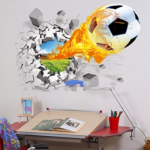 U-Shark 3D Self-adhesive Removable Break Through the Wall Vinyl FOOTBALL SOCCER Wall Stickers / Murals Art Decals Decorator as Kids Birthday Gift (Flying Fire Football (19.7″ X 27.6″/ 50 X 70cm))